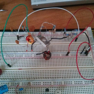 colpitts oscillator on breadboard