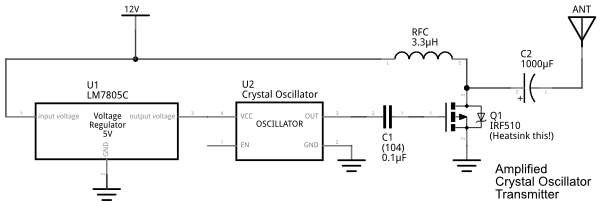 amplified crystal oscillator transmitter schematic