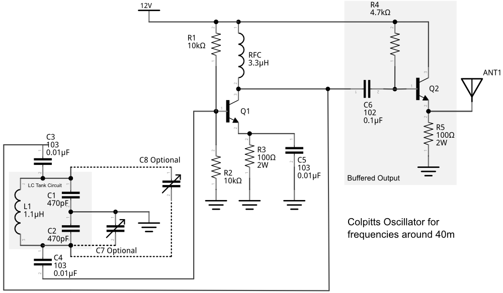 makerf experimenting with colpitts oscillatorsbuffered colpitts oscillator schematic