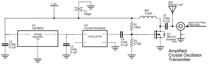 improved crystal oscillator amplifier schematic