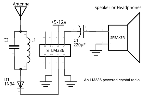 lm386 crystal radio