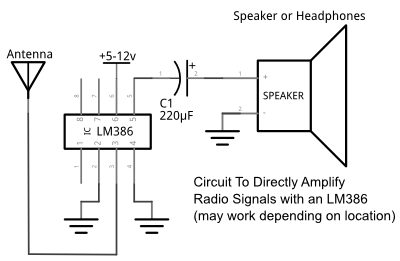 lm386 radio wave amplification