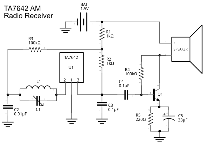 ta7642 am radio receiver schematic